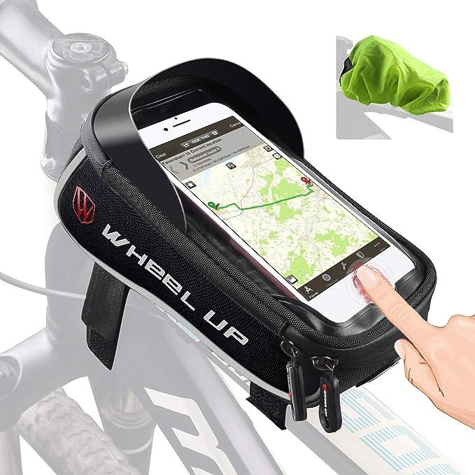 Tricodale Bolsa Bicicleta Cuadro de montaña Impermeable Funda Soporte Mochila móvil Bici Decathlon con desbloqueo Touch-ID para el iPhone Xiaomi Redmi ...