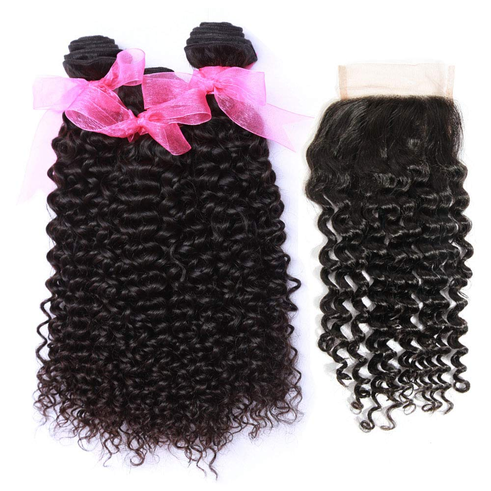 10ein Malaysian Remy Curly Hair mit Closure (20 22 24+18Inch Closure) Unprocessed Malaysian Kinky Curly Human Hair Weave Extensions Free Teil Lace Closure Natural Color