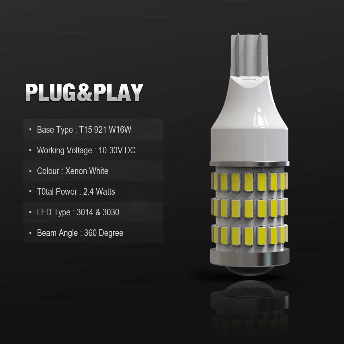 LABBYWAY Pack of 2 Extremely Bright Error Free High Power 906 912 921 W16W T15 LED Replacement Bulbs Used For Backup Reverse Lights Xenon White