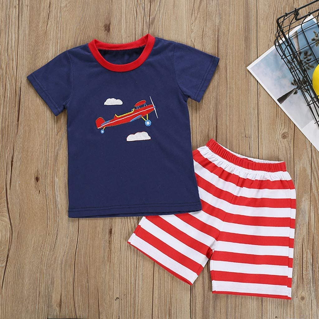 Children Kids Cartoon Aircraft Print Tops T-Shirt+Stripe Shorts Sleepwears Sets Baby Boys Pajamas Set 2pcs 2-3 Years, Blue