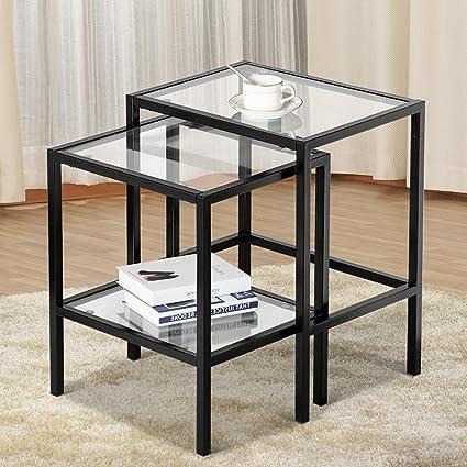 Amazon.com: Yaheetech Set of 2Pcs Glass Nesting Tables Living Room ...