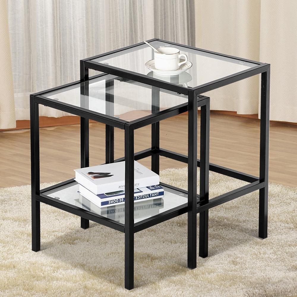 Yaheetech Set of 2Pcs Glass Nesting Tables Living Room Sofa Side End Table Set Black Frame