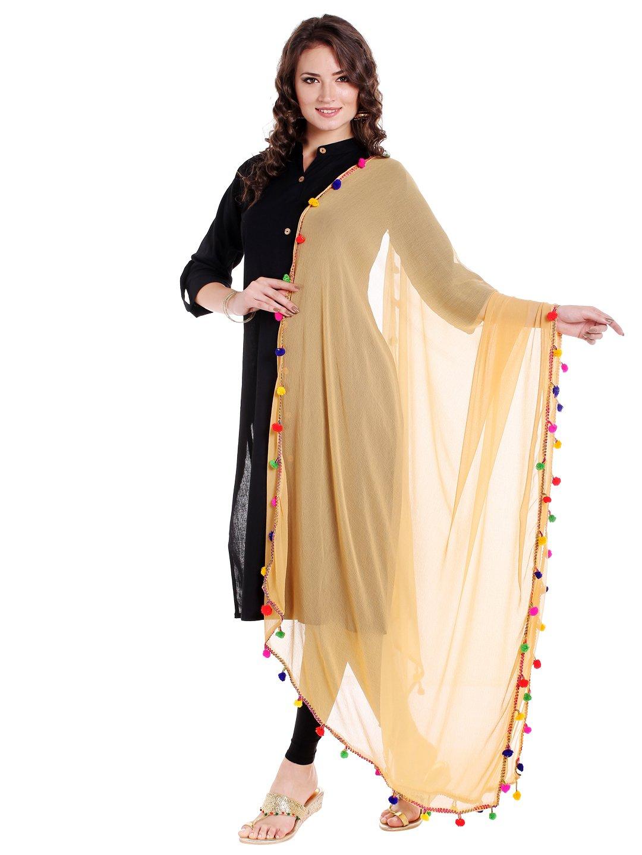 Dupatta Bazaar Woman's Beige Chiffon Dupatta with Multicoloured Pompom