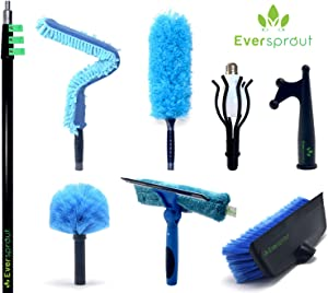 EVERSPROUT Extension Pole Total Kit (30+ Foot Reach) | Telescopic Pole, Scrub Brush, Light Bulb Changer, Utility Hook, Swivel Squeegee, 3X Microfiber Dusters (Cobweb, Flexible Ceiling Fan, Feather)