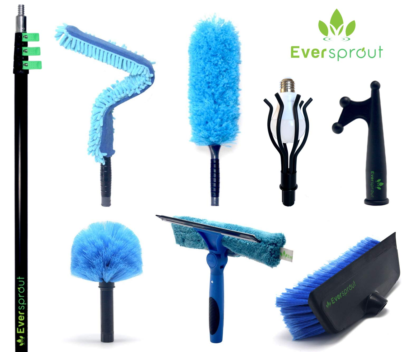 EVERSPROUT Extension Pole Total Kit (30+ Foot Reach)   Telescopic Pole, Scrub Brush, Light Bulb Changer, Utility Hook, Swivel Squeegee, 3X Microfiber Dusters (Cobweb, Flexible Ceiling Fan, Feather) by EVERSPROUT