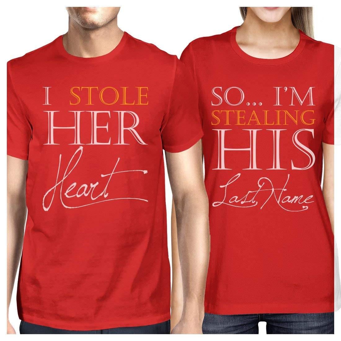 Amazon.com: 365 impresión robando apellido parejas Tees a ...