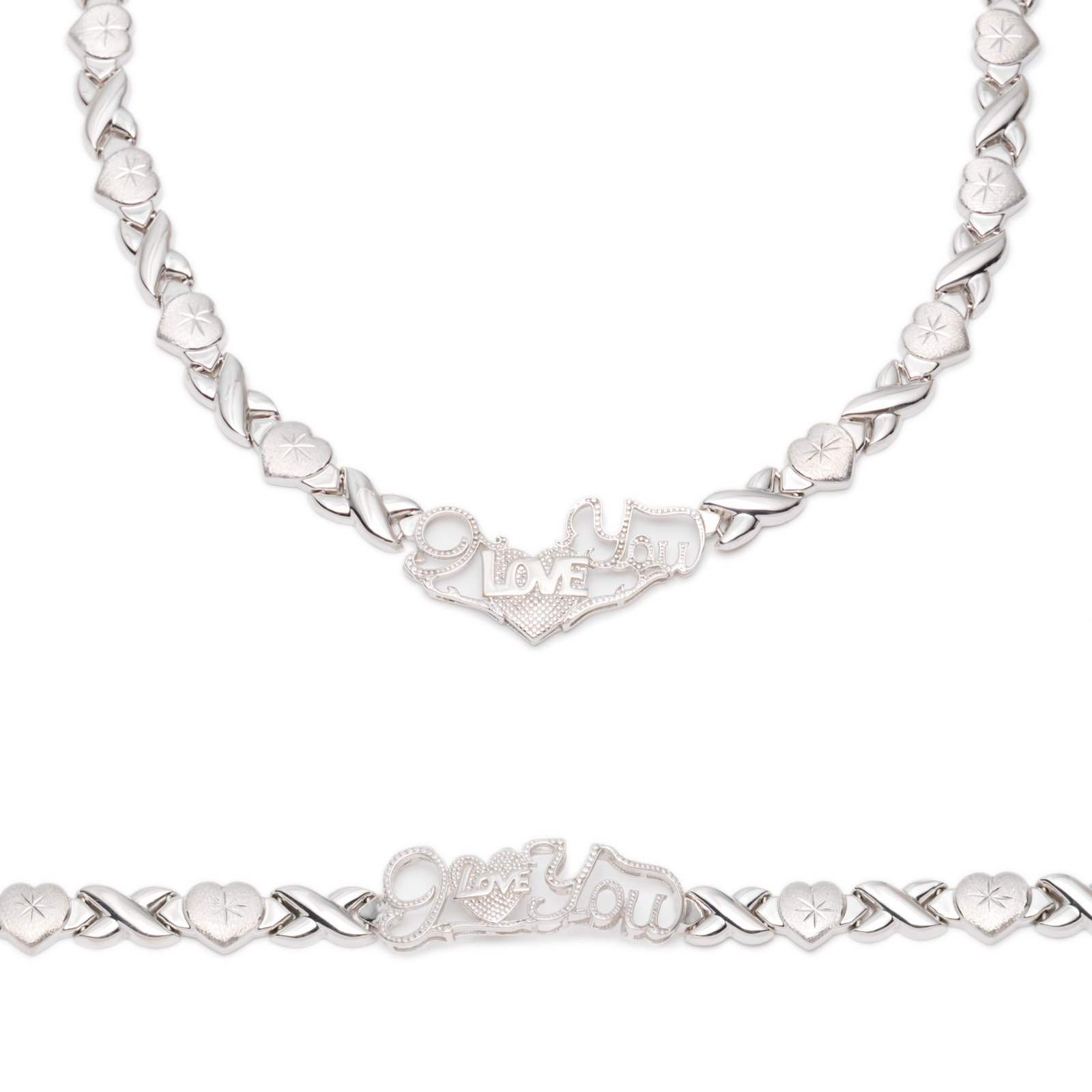 Sterling Silver Rhodium Plated Stampato Xo and Heart Hugs & Kisses ''I Love You'' Bracelet & Necklace Set