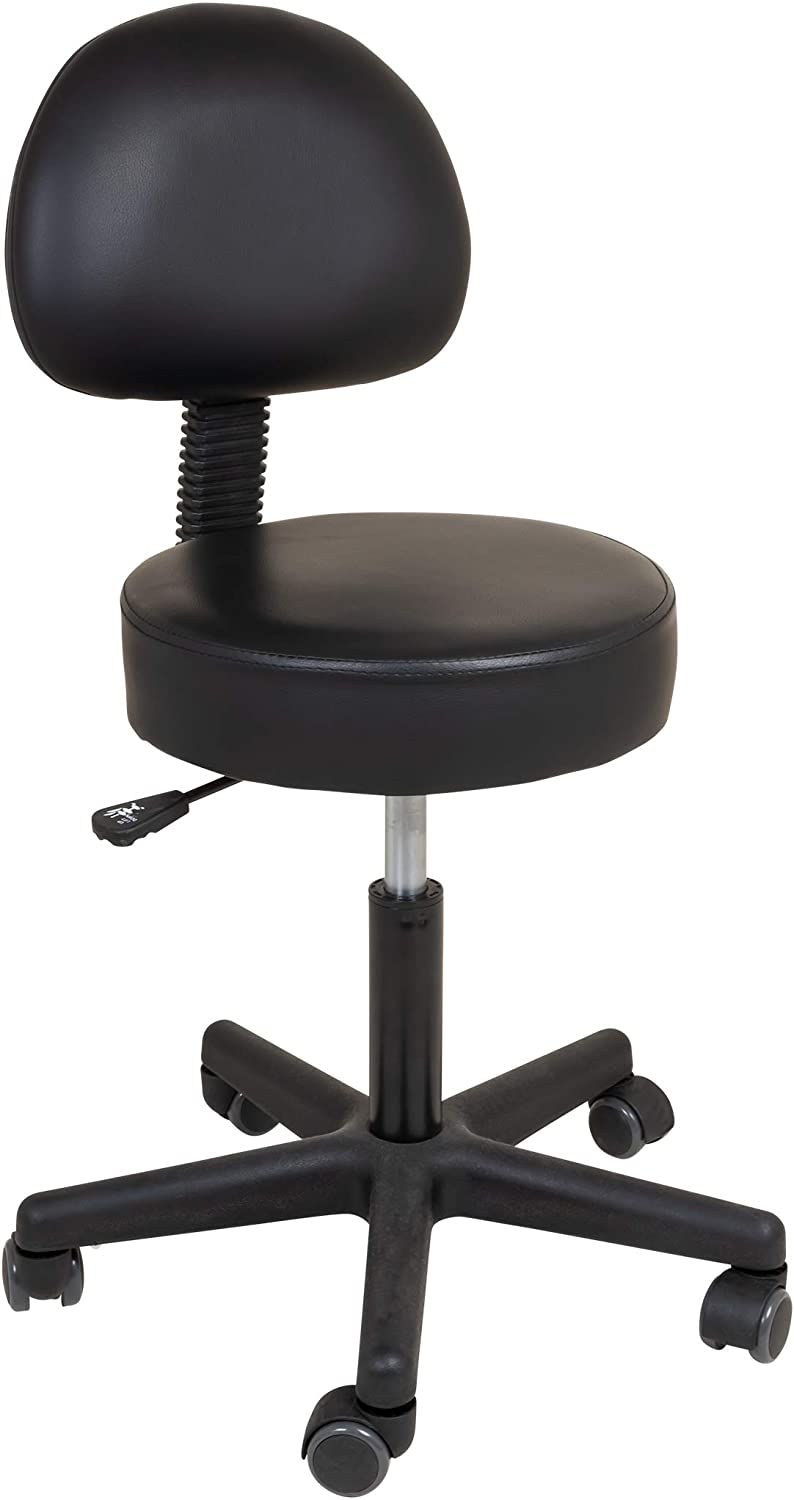 Roscoe Medical Rolling Stool with Back and Wheels – Round Adjustable Stool – for Work, Office, Desk, Salon, Drafting, Spa