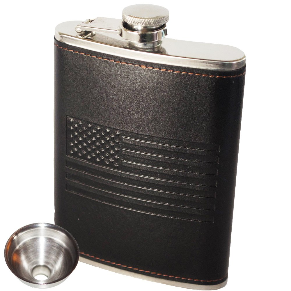 American Flag Flask - Soft Touch Cover and Durable Construction | 18/8 304 Food Grade Stainless Steel | Leak Proof Slim Profile Classic American Flag Design | Funnel Included | Black | For Alcohol