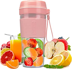 Wonuu Portable Blender, Personal Size Blender for Smoothies, Fruit Juice, Milk Shakes and Ice Blending, Rechargeable USB, 300ml Pink Mini Blender Travel Blender Juicer Cup for Home and Outdoors