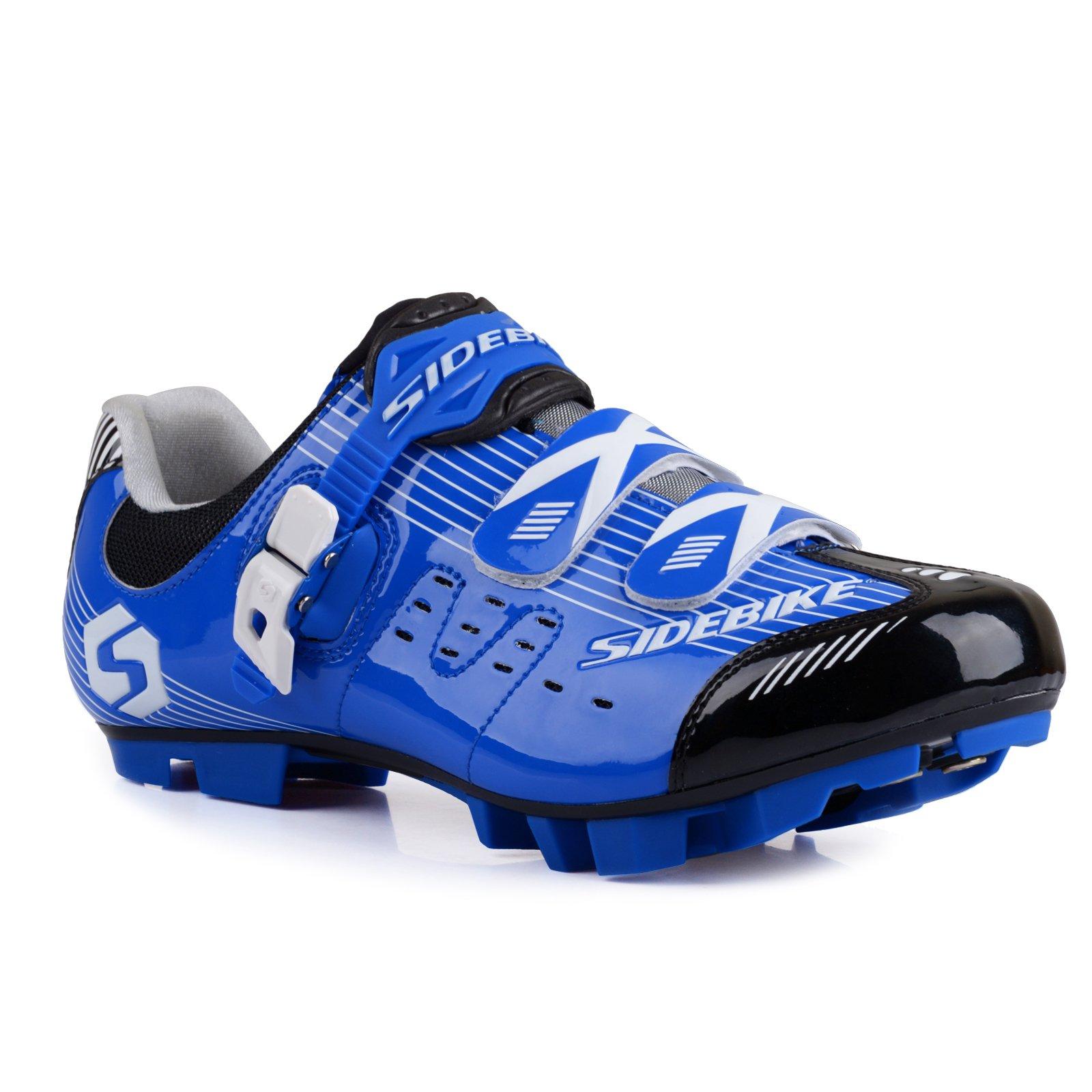 MTB Cycling Shoes Men Women (003-MTB Blue Black, US12/EU45/Ft28.5cm)