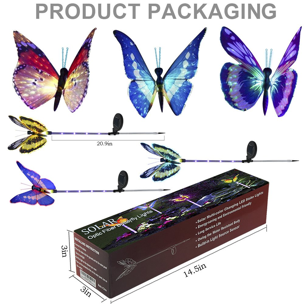 Solarmks Solar Lights Outdoor Garden Decorative,with a Purple LED Light Stakes Multi-Colored Changing Fiber Optic Butterfly Landscape Lighting for Garden, Patio, Backyard,Pack of 3