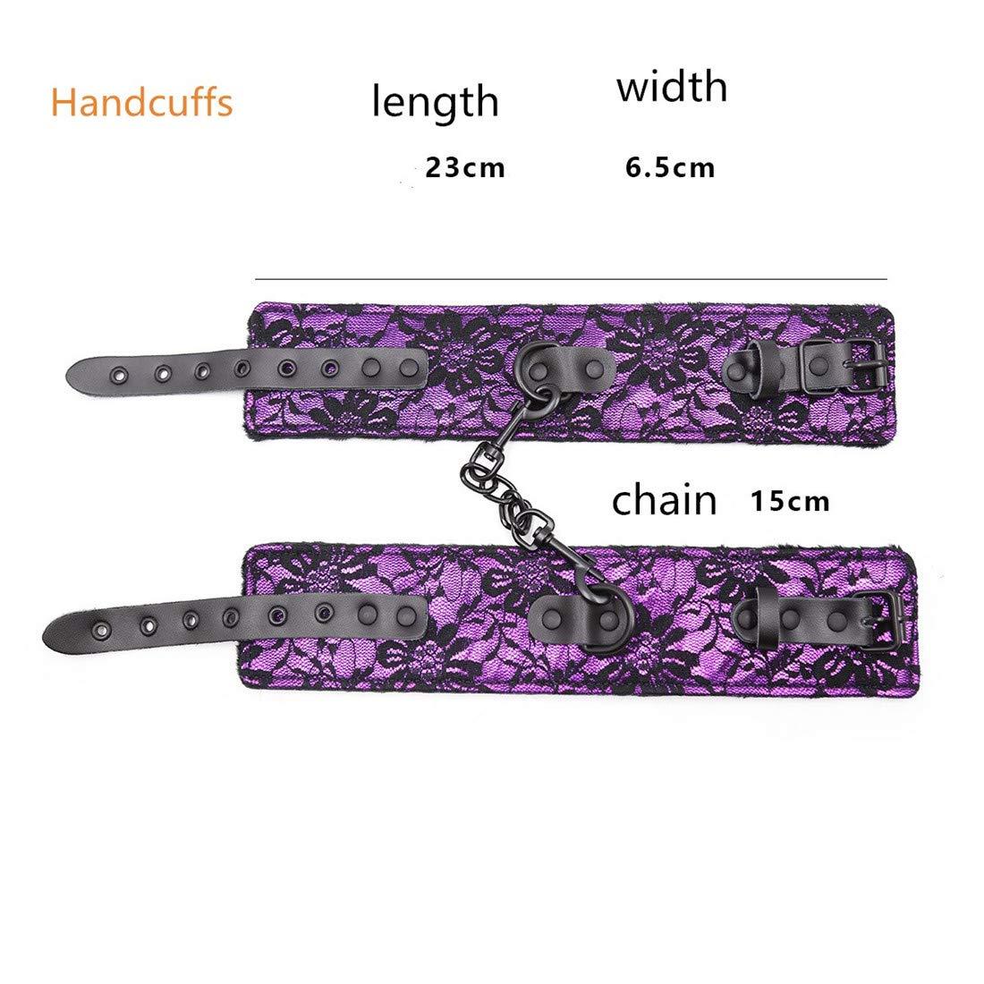 Dhrfyktu Encaje Cuero de Encaje Dhrfyktu con Esposas de Felpa Pasión Hebilla Tobillo Puños Juguetes Adultos para el Sexo (Color : Purple, Size : Handcuffs) ab036a