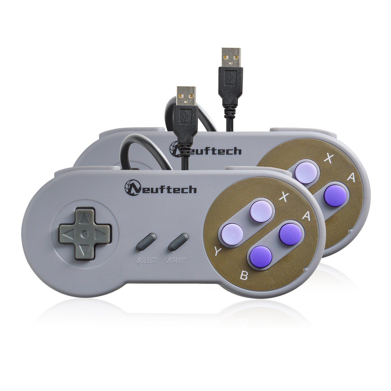 Neuftech 2X Retro USB Controller SNES Style Gamepad fü r PC Mac OS Raspberry pi EU-2xUSBGamepadGrey