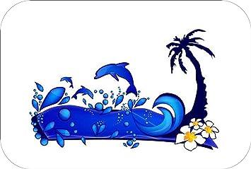Badematte Motiv Delphin Blau Badteppich Badmatte Wannenvorleger
