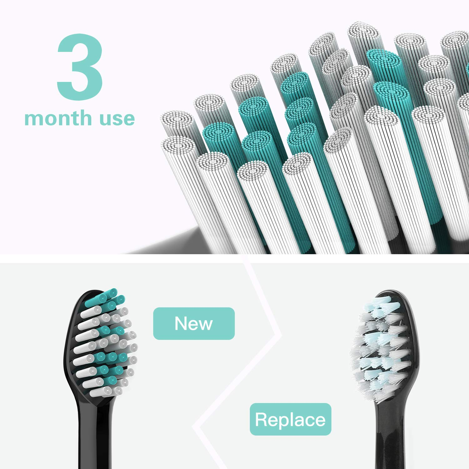 Amazon.com: ABOX 8 Pack Replacement Toothbrush Heads, Extral Soft Bristles Dental Care Health Clean Refill Brush Heads for Sonic Electronic Toothbrush, ...