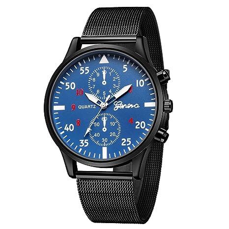 Relojes Hombre Oferta, de los Hombres Moda Deporte Acero Inoxidable Case Leather Band Quartz Analog