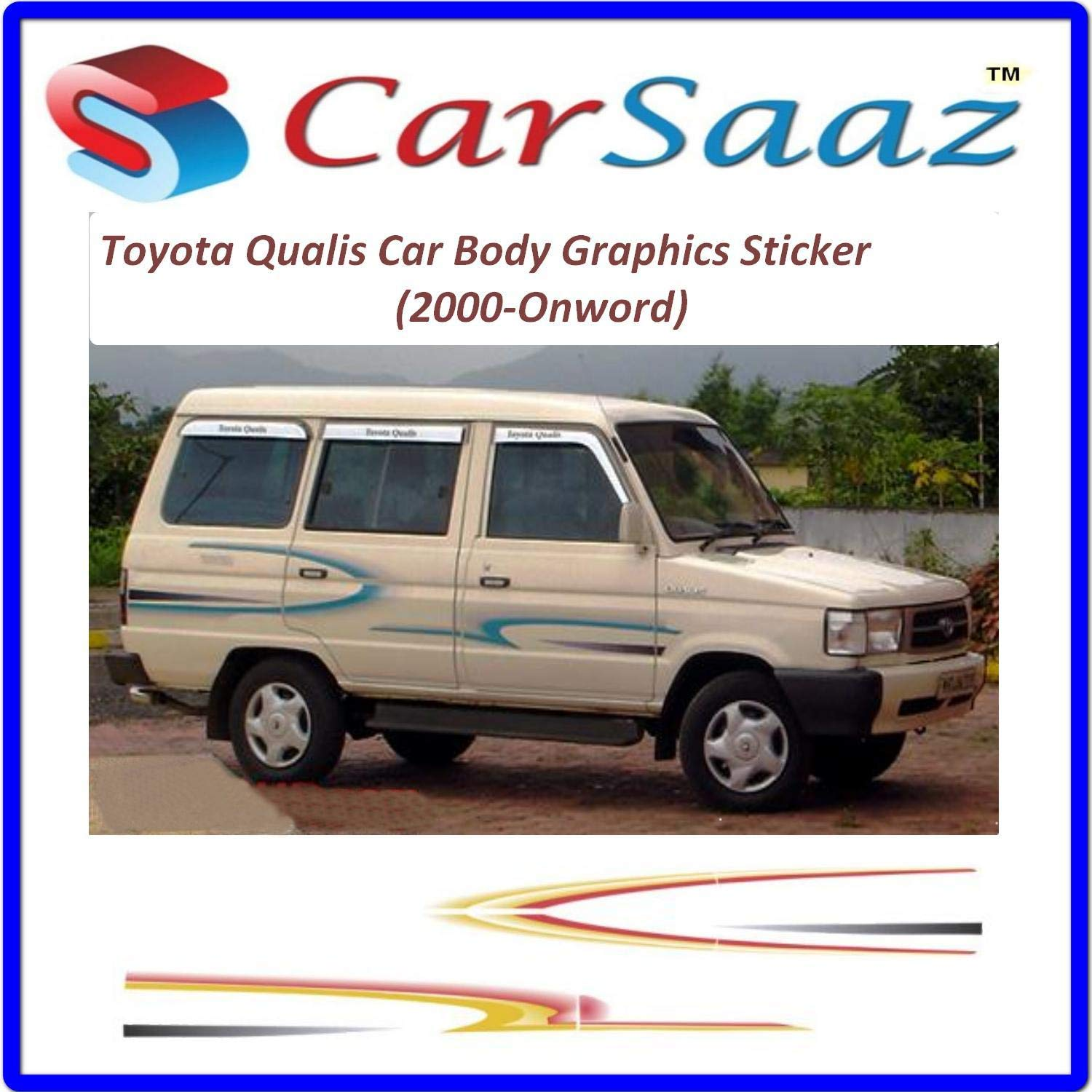 Carsaaz Car Body Graphics Stickers Compatible With Toyota Qualis