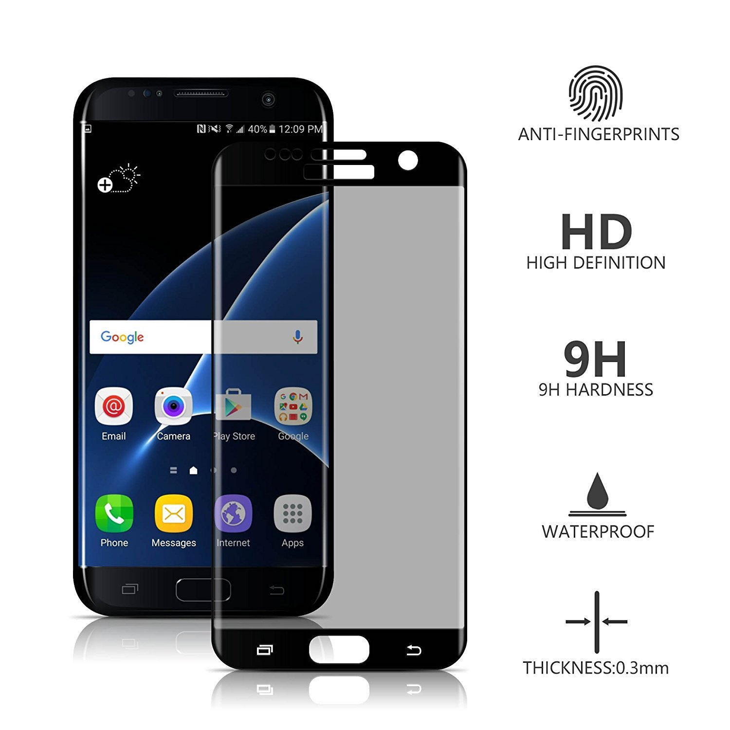 Samsung Galaxy S7 Edge Screen Protector Anti Spy, VIEE Full Coverage 3D Tempered Glass Privacy Screen Protector For Galaxy S7 Edge,Bubble Free,Anti Shatter(Black)