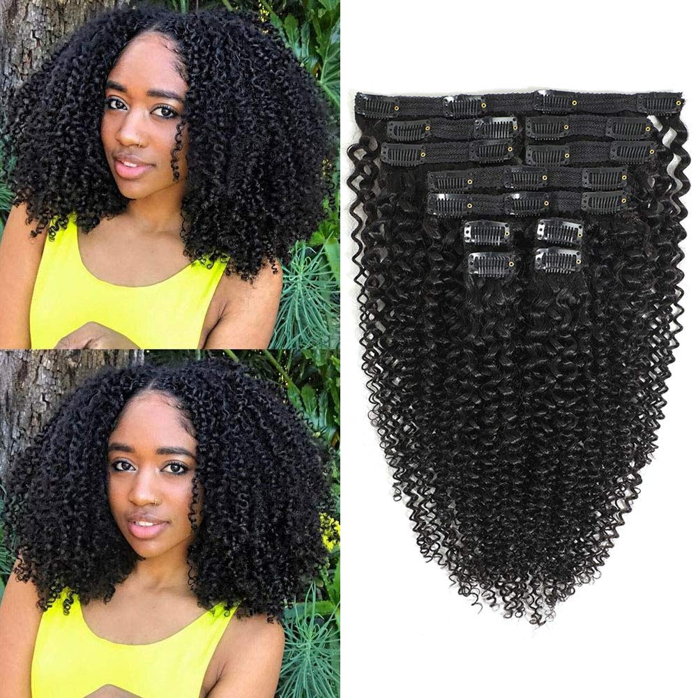 Kinky Curly Clip in Human HairExtensions,8A Brazilian Remy Human Halir Lace Weft Curly Hair Clip in for Woman,3C 4A Afro Curly Clip ins,Easy Install,Natura Color Upgrade 11 Pcs,120 Gram,(18 Inch)