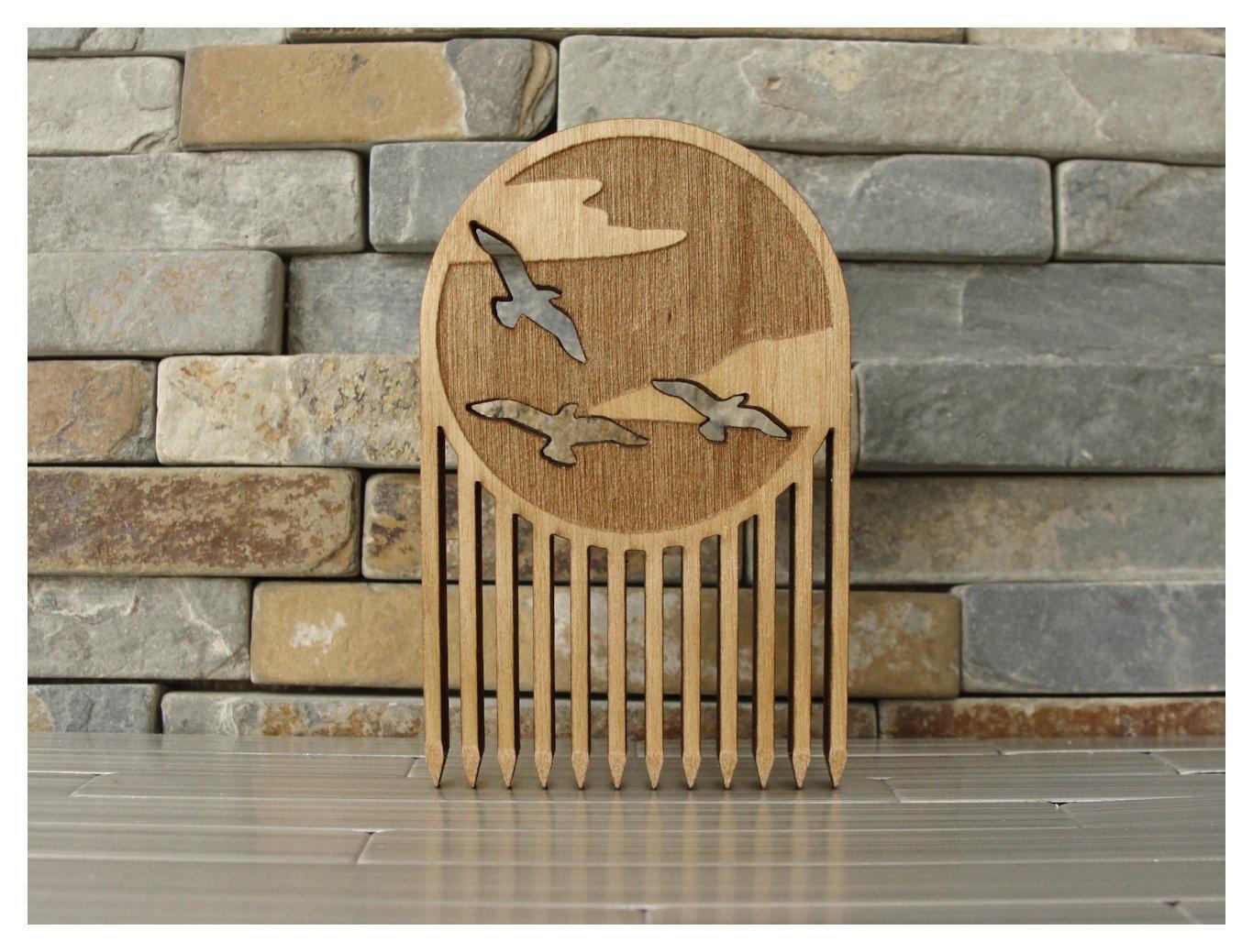 Soaring Birds Wood Beard Comb