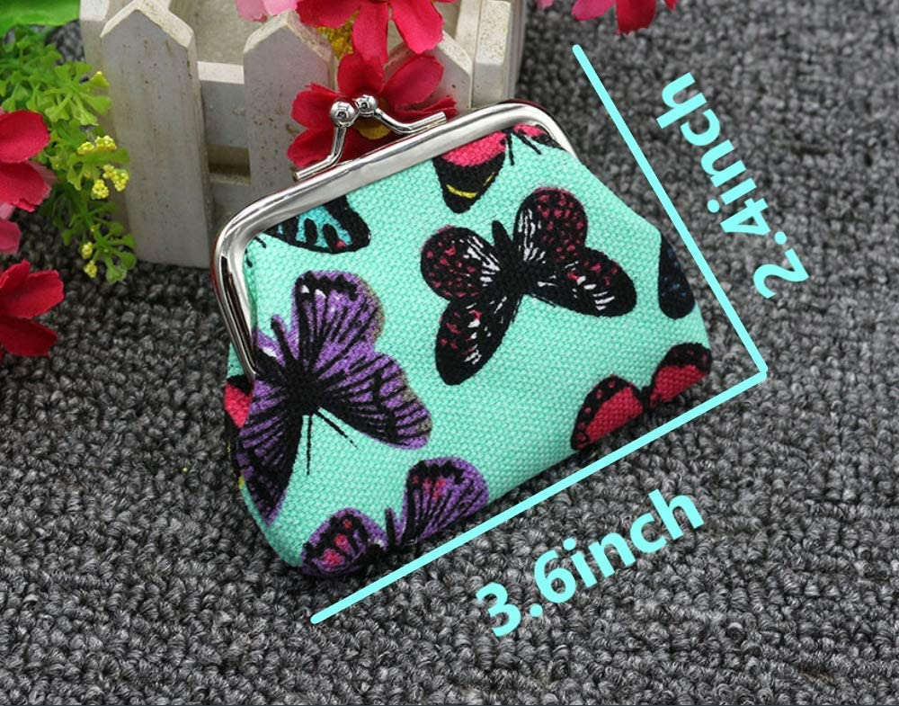 Lovely Butterfly Pattern Coin Purse- Mini Butterflies Design Clasp Pouch Wallet Key Bags Money Bag, Perfect Present for Girls Purses Women Wallets Buckle Party Favors