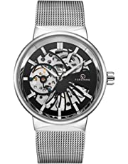 Affute Mechanical Men's Watches Classic Thin Skeleton Silver Tone Mesh Stainless Strap Automatic Hand-Wind Analogue Wrist Watch
