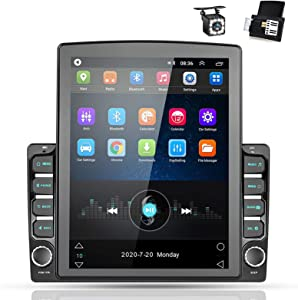 Android 9.0 Double Din GPS Navigation Car Stereo, 9.7'' Vertical Touch Screen 2.5D Tempered Glass Mirror Bluetooth Car Radio with Backup Camera