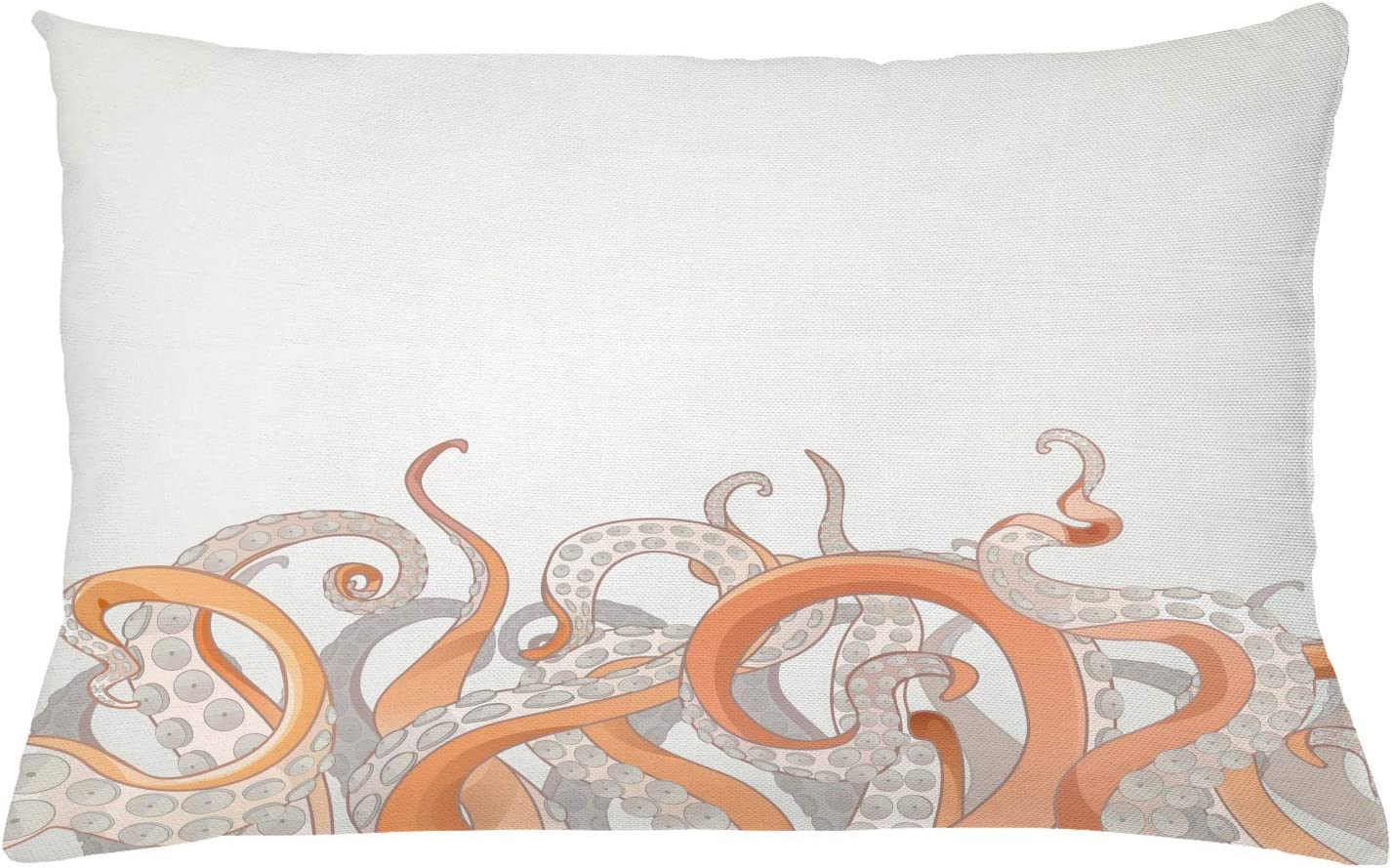 "Lunarable Octopus Throw Pillow Cushion Cover, Octopus Tentacles Background Underwater Marine Nature and Sea Creatures Nautical, Decorative Rectangle Accent Pillow Case, 26"" X 16"", Orange Grey"
