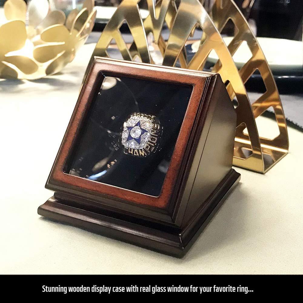 FANSRINGS Championship Ring Display Case Wooden Box Real Glass Window 1 Slot Hole Gift for Baseball Basketball Hockey Sports Fans Chonshan YongTai Factory