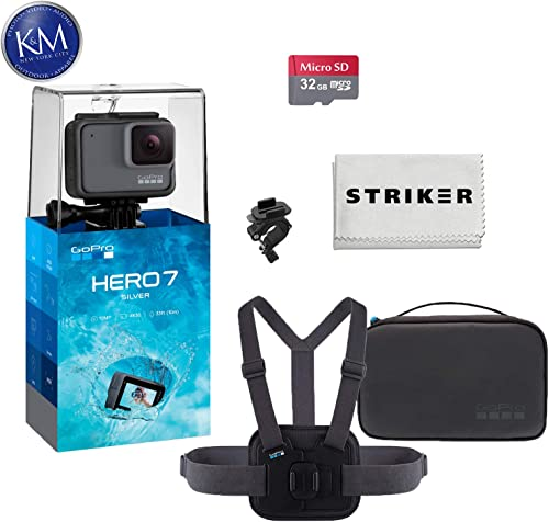 GoPro Hero 7 Silver Action Camera with GoPro Sports Kit Essential Bundle Includes Chesty, Handlebar Seatpost Pole Mount, Large Small Rubber Insert, Vertical Mounting Buckle, and Compact