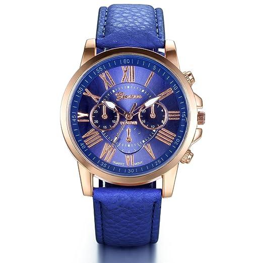 Jewelrywe relojes mujer cuero azul, números romanos elegante diseño esfera grande, cuarzo reloj de pulsera de hombre mujer: Amazon.es: Relojes