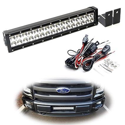 Ijdmtoy Lower Grille Mount Led Light Bar Kit For  Up Ford F Xlt Lariat
