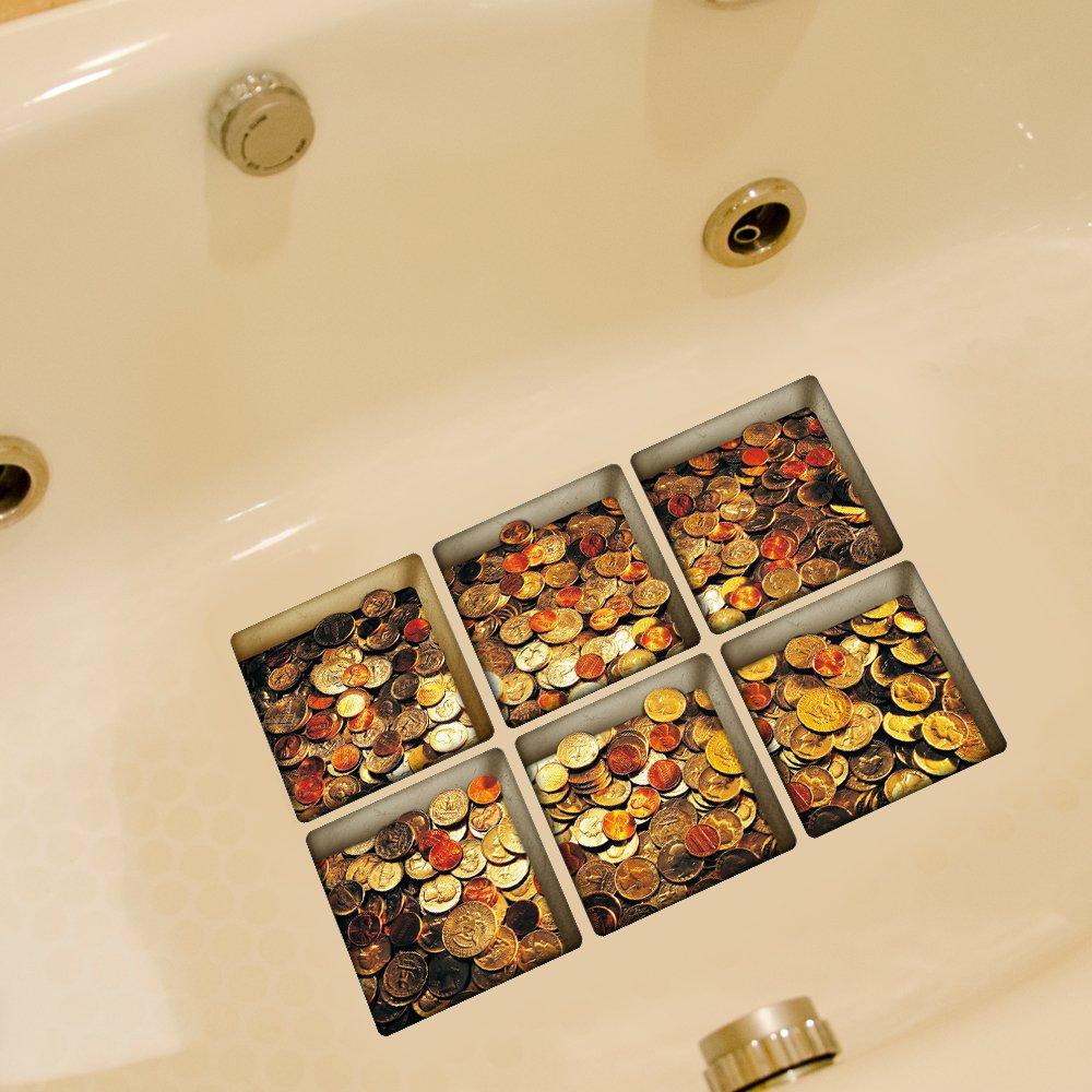 Weare Home Geldstück Muster Serie von 6 Stück Deko Design Kreativ Anti Rutsch Sticker für Sicherheit Kinder für Badewanne, je Stück 14.5×14.5cm