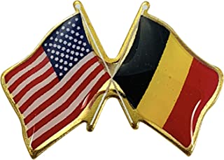 product image for Gettysburg Flag Works Belgium & U.S. Crossed Flags Double Waving Friendship Lapel Pin - Made in The USA