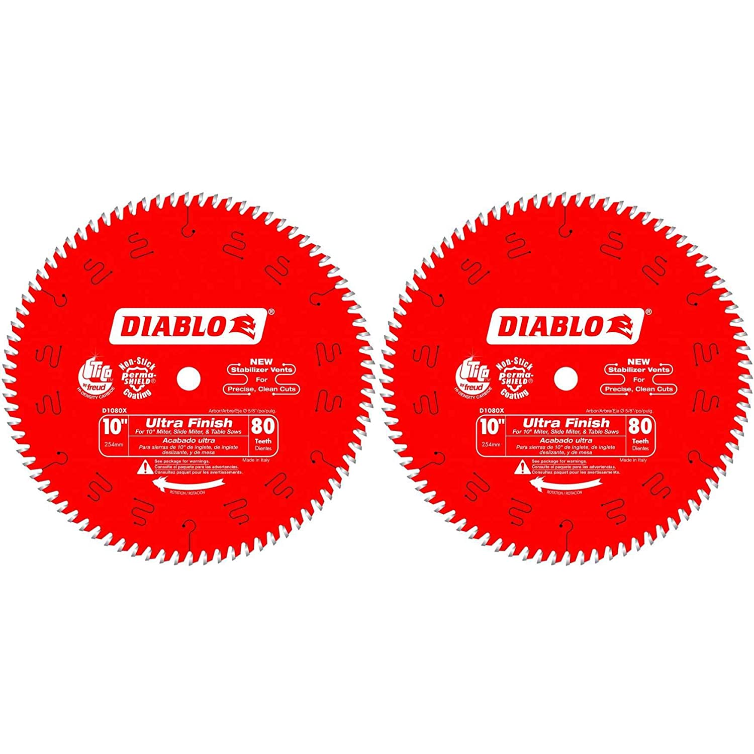"""Diablo D1080X 10"""" 80 TPI Ultra Finish Chop/Slide Miter and Table Saw Blade"""