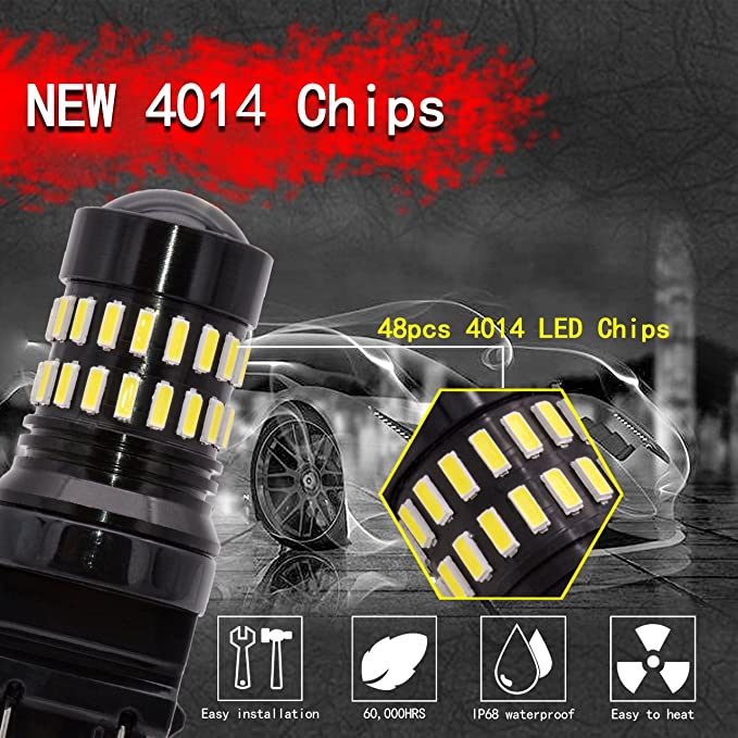Pack of 2 NATGIC 3157 T25 LED Bulbs 1200LM Xenon White Extremely Bright 48-SMD 4014 LED Chipsets 3156 3057 4057 4157 LED Bulbs with Projector for Turn Signal Lights Tail Backup Reverse Lights