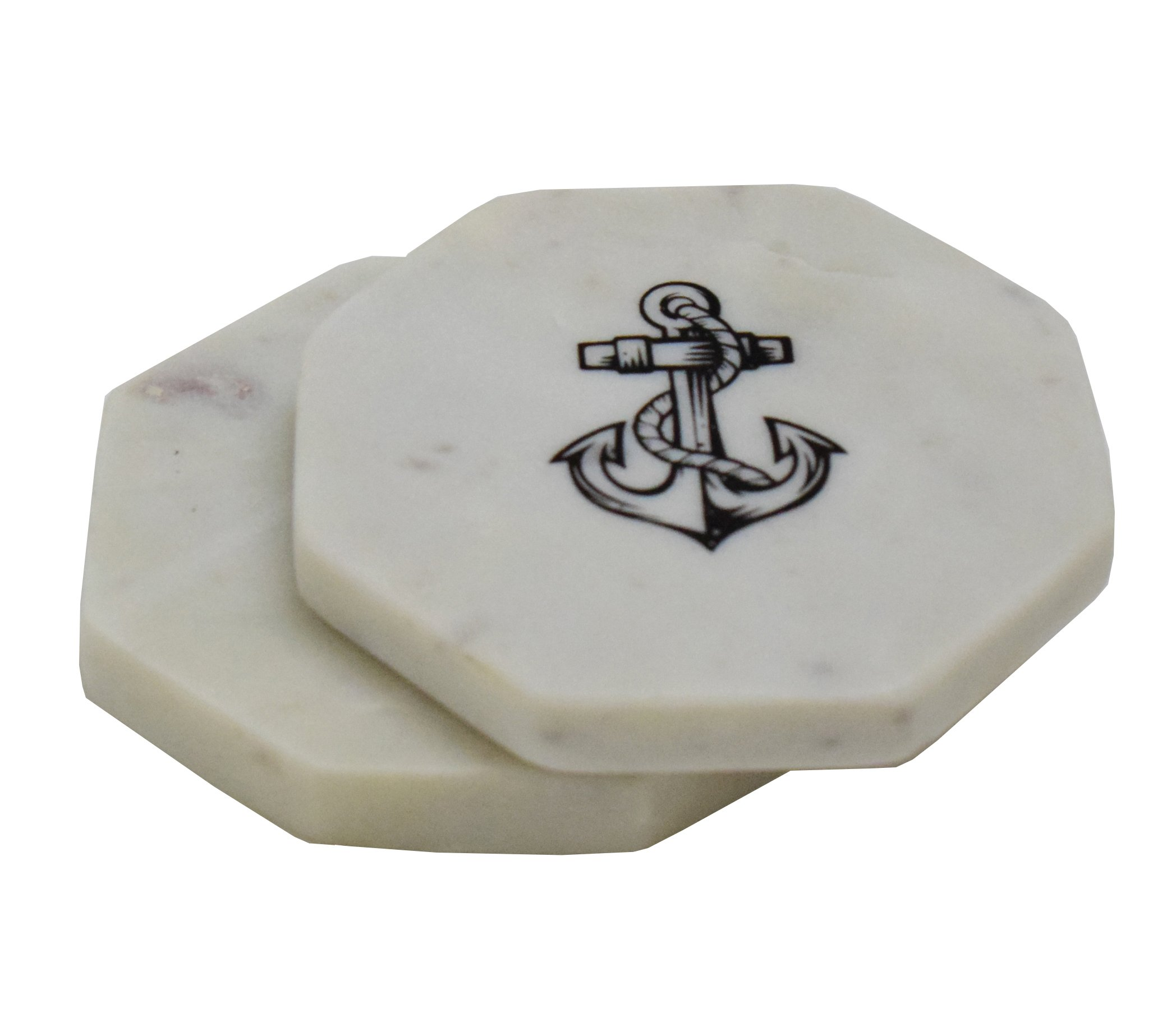 Hashcart Designer Octagonal Shape Anchor Print Marble Coasters for Drinks-Hot & Cold/Carved Marble Coaster Sets, Dining, Tea & Coffee Table Decorative Cocktail Coasters (Set of 6)