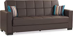 "Ottomanson ARM-SB-16-PU Armada Leatherette Upholstery Sofa Sleeper Bed with Storage, 36"" x 88"" x 38"", Brown PU"