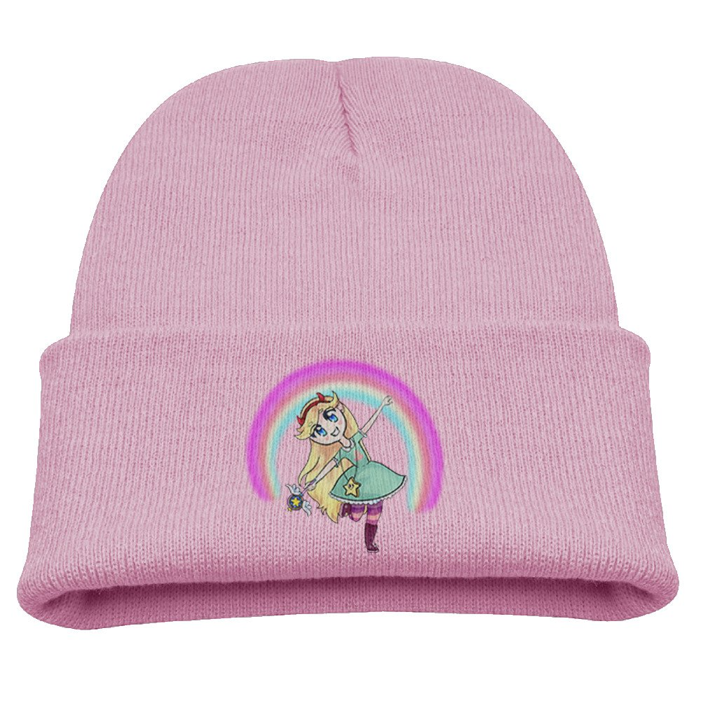 Star VS The Forces Of Evil Cartoon Warm Winter Hat Knit Beanie Skull Cap Cuff Beanie Hat Winter Hats Girls Larenoto