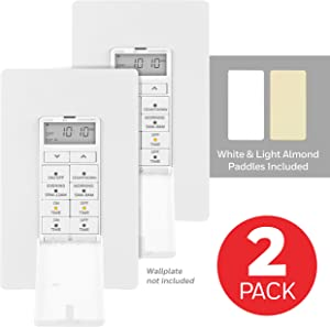 UltraPro, White Honeywell 24-Hour Digital In-Wall Timer 2 Pack, 4 Programmable, Override Button, Door Cover, Presets/Countdown, Ideal for Indoor, Lamps, LED, Seasonal Lighting, 47941