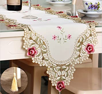 Vintage White Lace Table Runner With Tassel Fabric Dresser Scarves  Embroidered Floral Elegant Table Runners,
