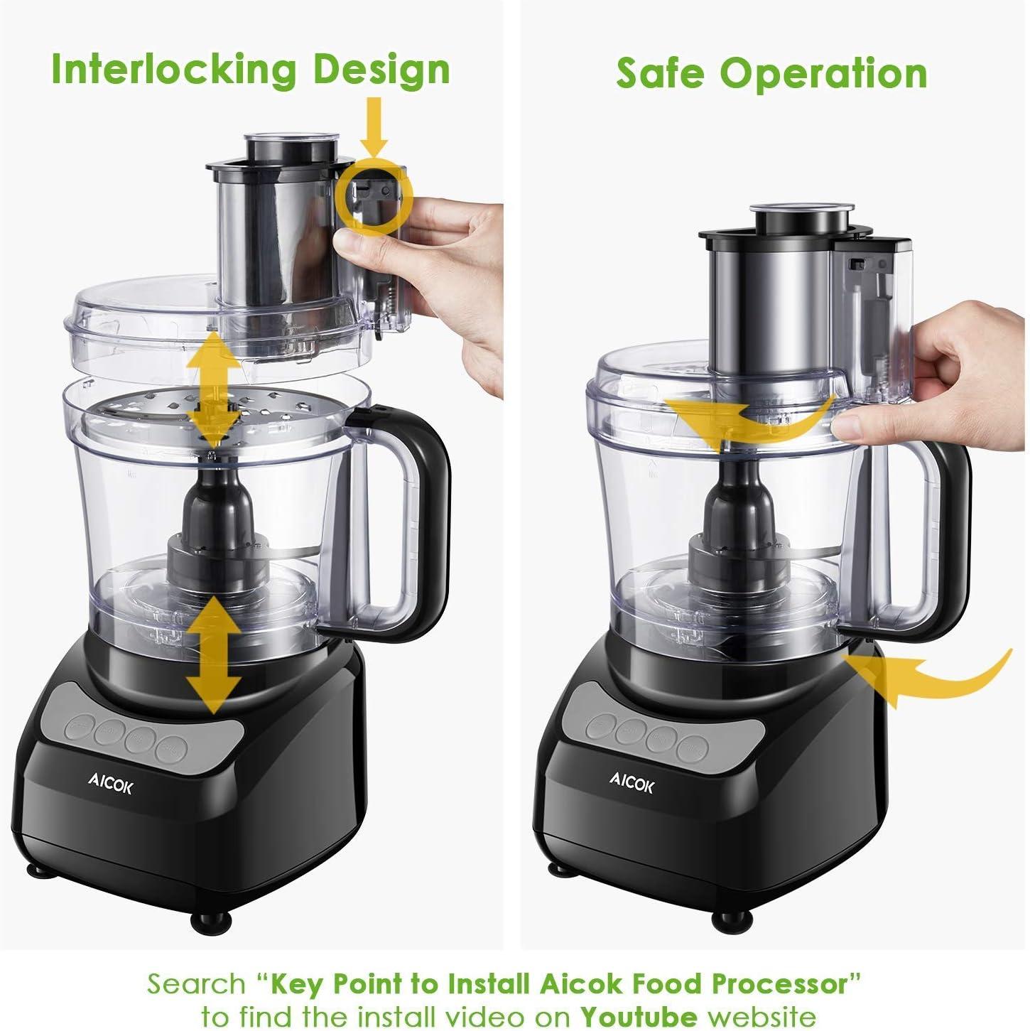 Robot de cocina, procesador de alimentos AICOK 2.3L, rallador eléctrico, picadora de carne, incluye gancho para amasar, verduras eléctricas y remover, 3 velocidades, picar, cortar, cubos y amasar.: Amazon.es: Hogar