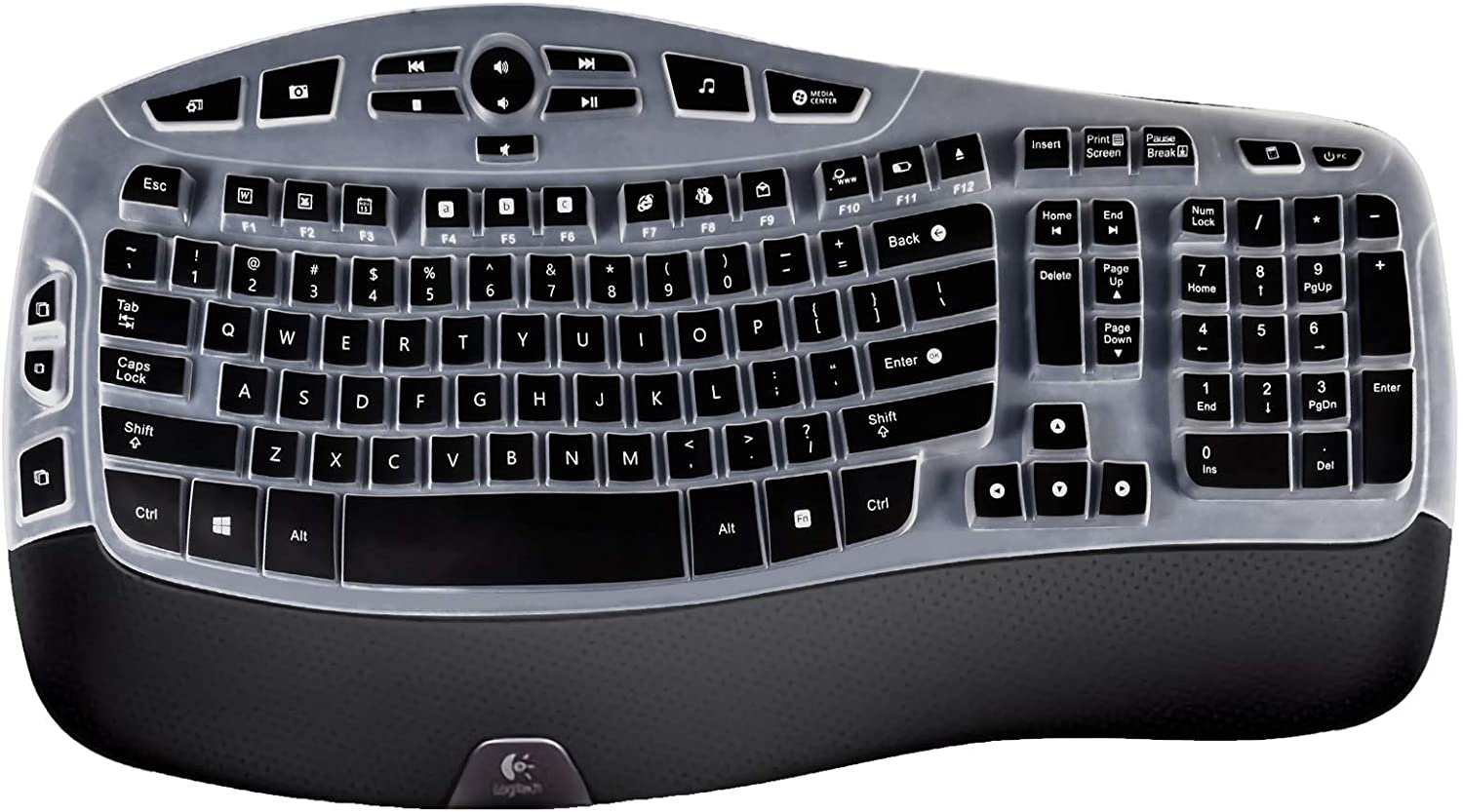 Lapogy Keyboard Cover Compatible with Logitech K350 MK550 MK570 Wireless Wave Keyboard Accessories.MK550 Keyboard Ultra Thin Silicone Protector Skin Black.