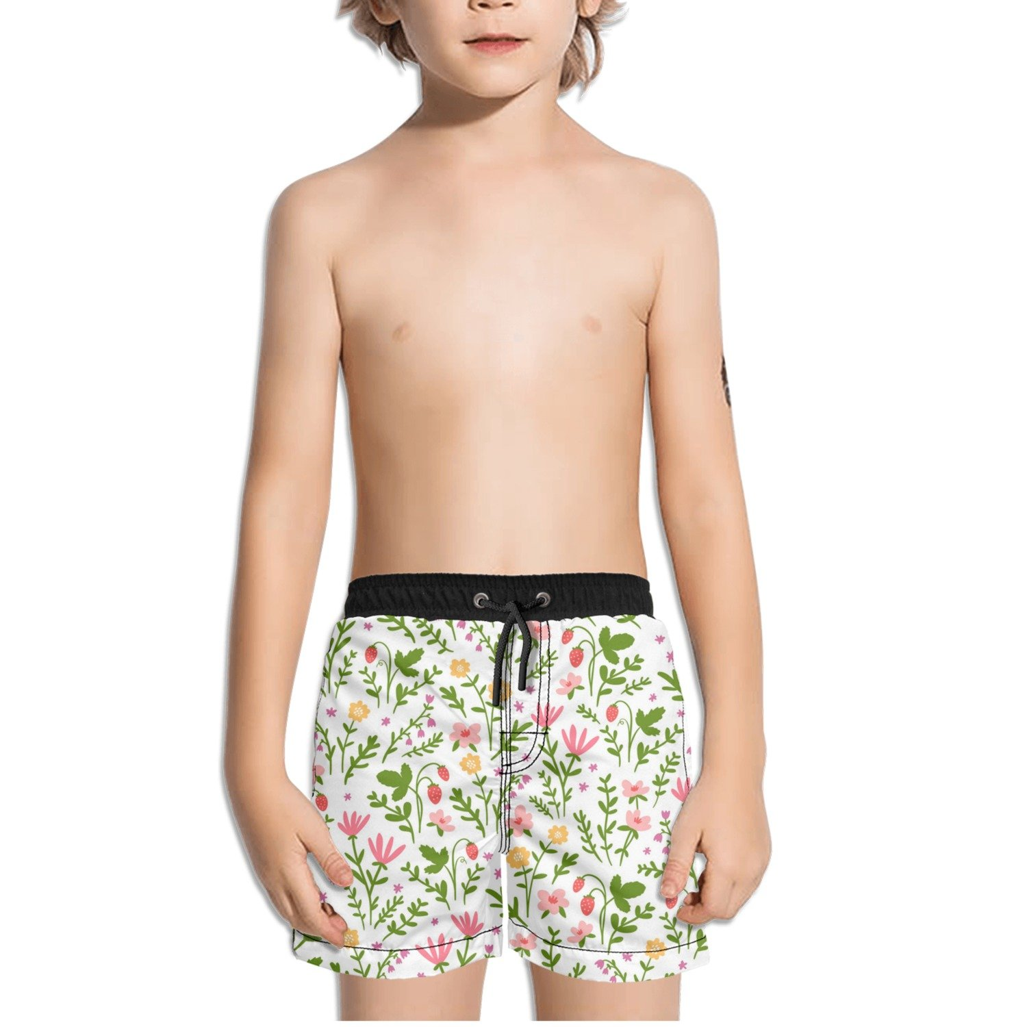 Ouxioaz Boys Swim Trunk Red Pink Flowers Leaf Beach Board Shorts