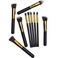 Set 10 Brochas Kabuki Extra Suaves, Profesionales Calidad -- seis colores (el oro negro)