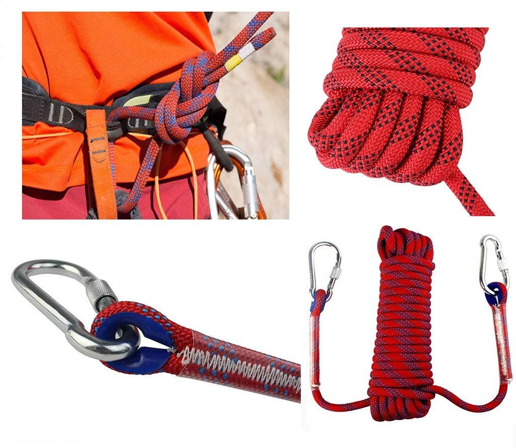 登山ロープ赤、 ラペリングロープ 1000kgを耐えることができます 家庭用火災緊急脱出ロープ、 安全ロープ 直径10MM (Color : 赤, Size : 100m) 赤 100m