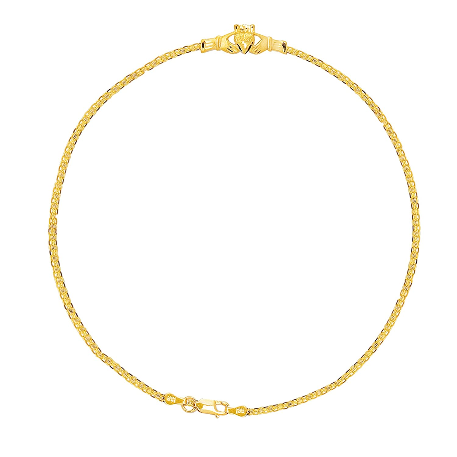 jewelry free braided solid anklet shipping product bracelet today foxtail inch ankle watches link overstock gold