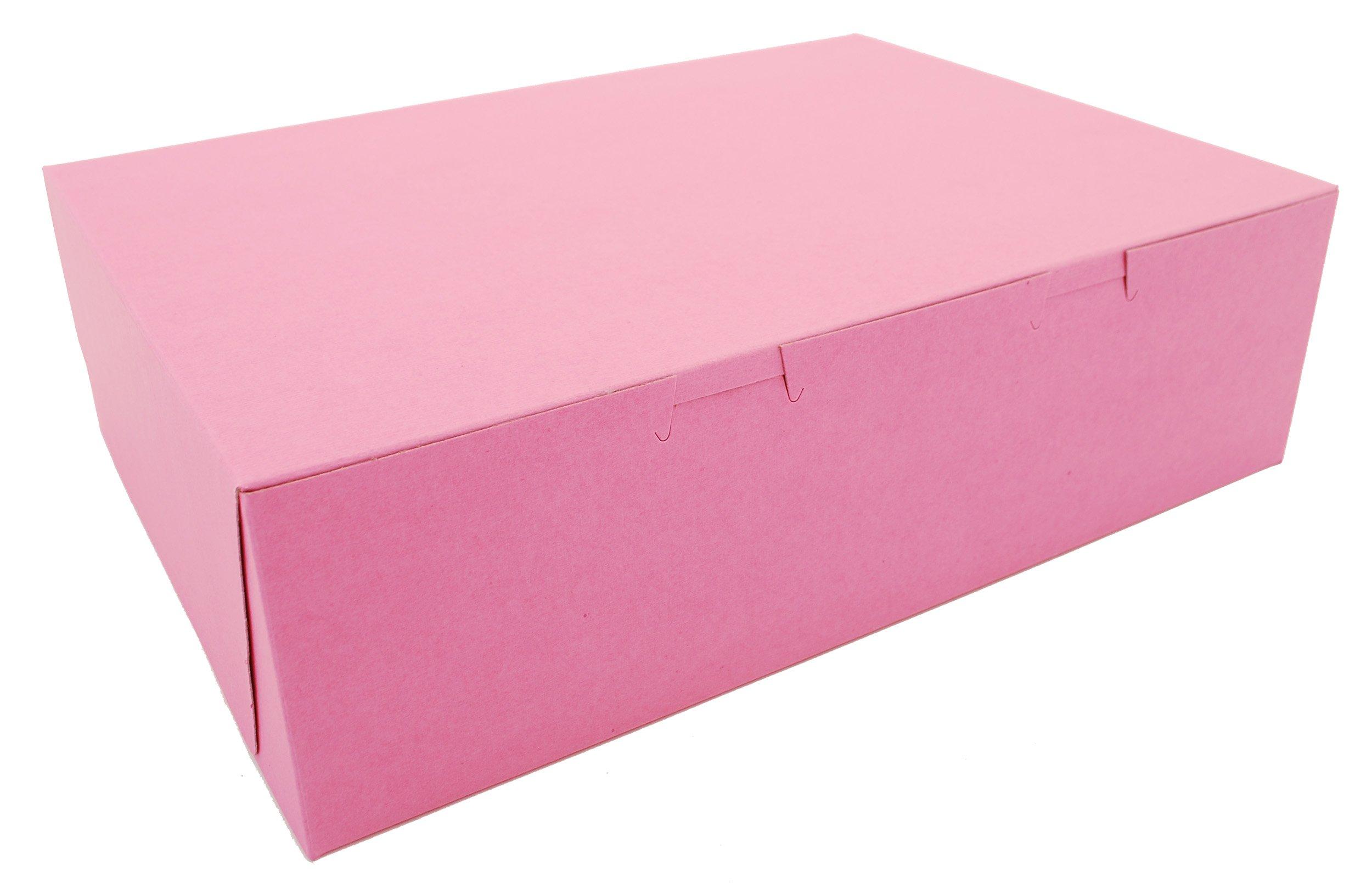 Southern Champion Tray 0890 Pink Paperboard Non-Window Lock-Corner Bakery Box, 14'' Length x 10'' Width x 4'' Height (Case of 100) by Southern Champion Tray