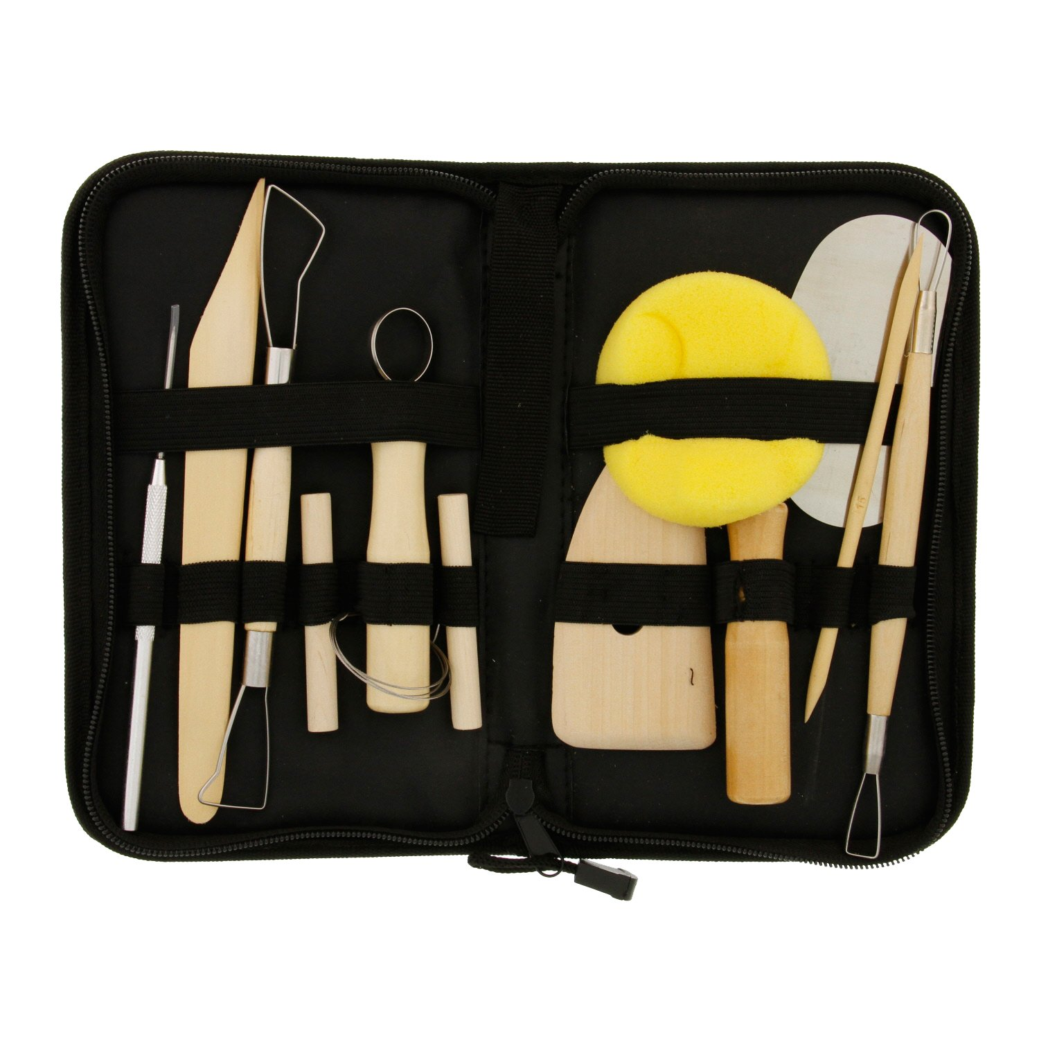 US Art Supply 12-Piece Pottery and Clay and Sculpting Tools Set with Canvas Zippered Case PTS-04